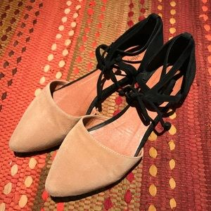 Jeffrey Campbell black tan suede flats 7.5